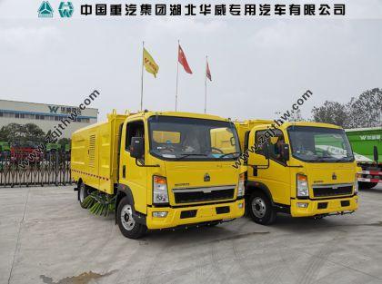 出口中东2台重汽扫路车案例